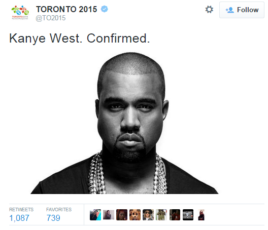 Toronto 2015 tweet to confirm the news that Kanye West will perform at the Closing Ceremony ©Toronto 2015/Twitter
