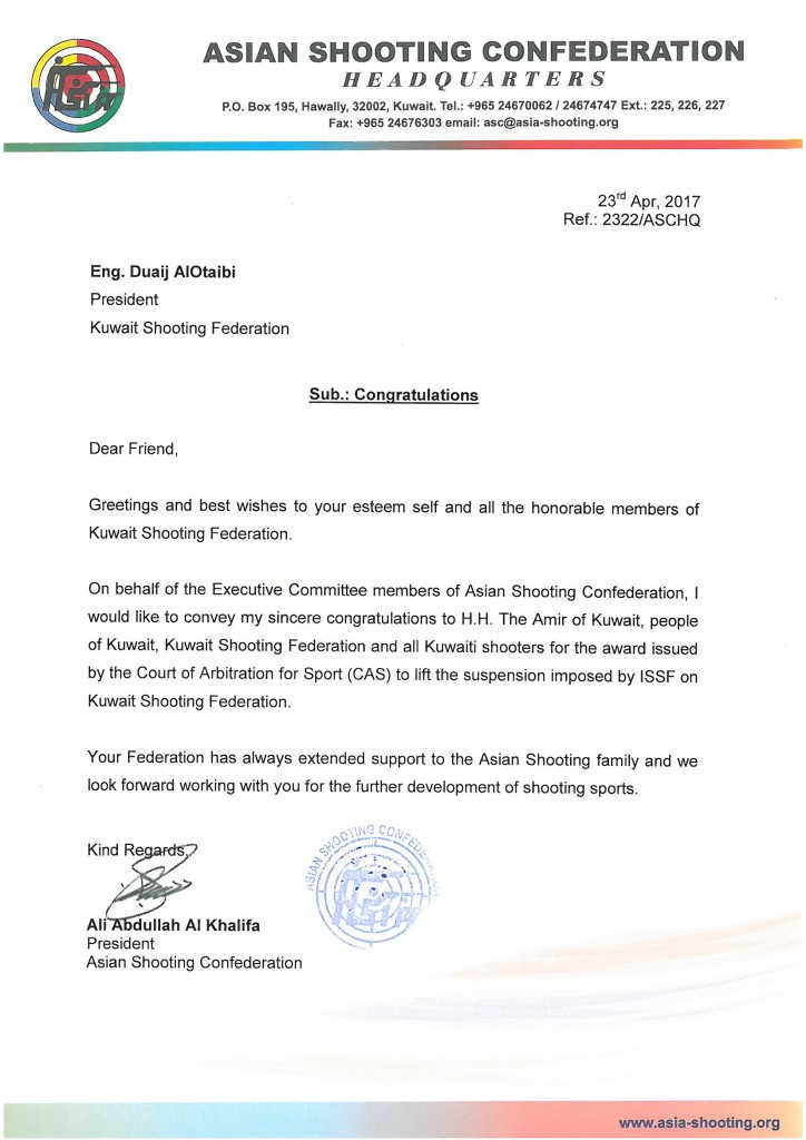 A letter sent by the Asian Shooting Confederation published by the Kuwait Shooting Federation ©KSC