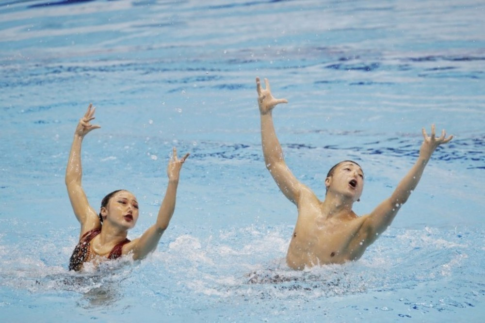 Japan were the sole participants in the mixed duet event ©FINA