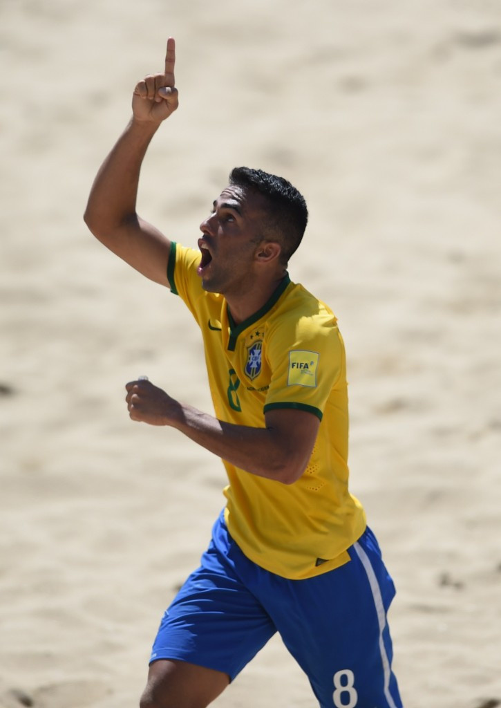 Bruno Xavier scored as Brazil defeated Tahiti 4-1 today ©Getty Images