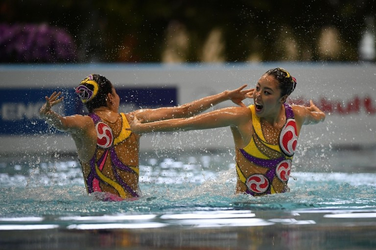 Kanami Nakamaki and Yukiko Inui won the duet title at the FINA Synchronised Swimming World Series event in Tokyo ©FINA