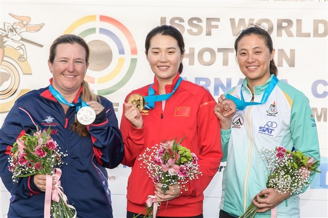 China's Wei Meng edged hot favourite Kimberly Rhode of the United States to win the women's skeet event ©ISSF