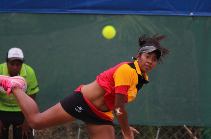 Papua New Guinea's Abigail Tere-Apisah won gold in the mixed doubles alongside compatriot Mark Gibbons