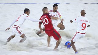 Portugal kept the defence of their FIFA Beach Soccer World Cup crown alive after claiming a nerve-racking 2-1 extra-time win over the United Arab Emirates in The Bahamas ©Getty Images