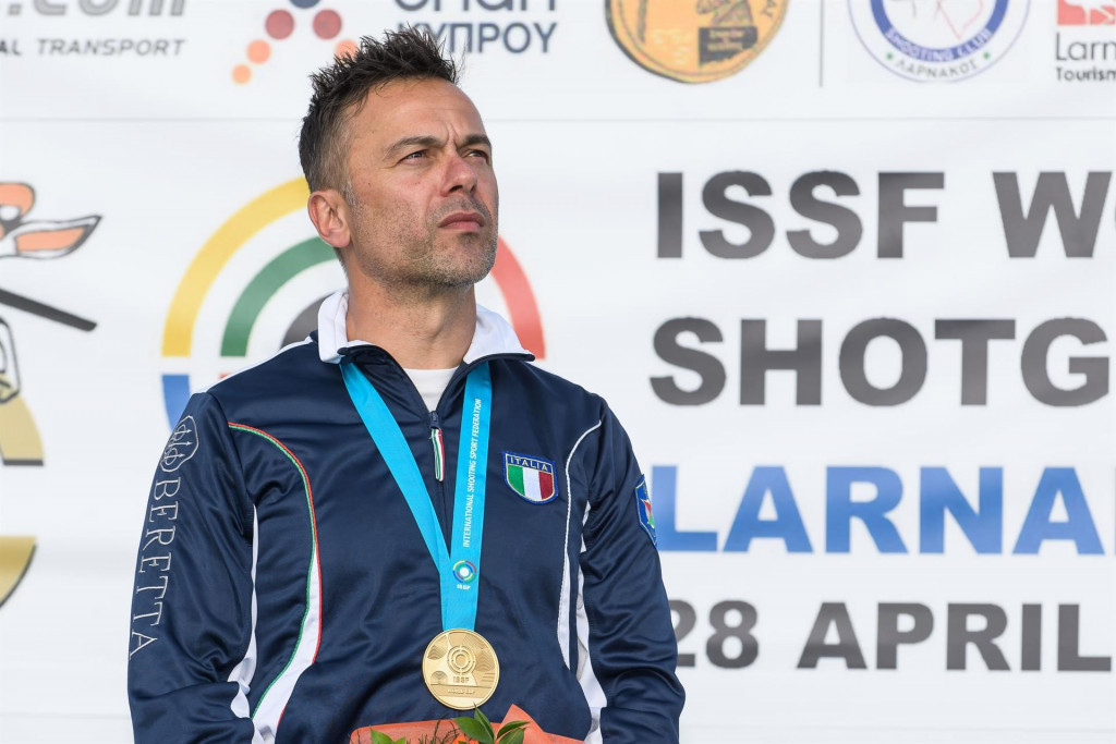 Italy's Di Spigno breaks global mark on way to men's double trap win at ISSF World Cup