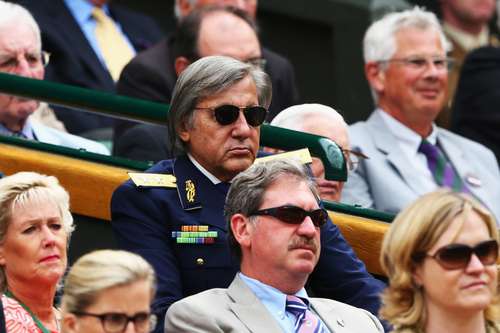 Ilie Nastase, wearing the dark jacket, has called Wimbledon's organisers small-minded over a decision to not invite into the Royal Box in Centre Court this year ©Getty Images