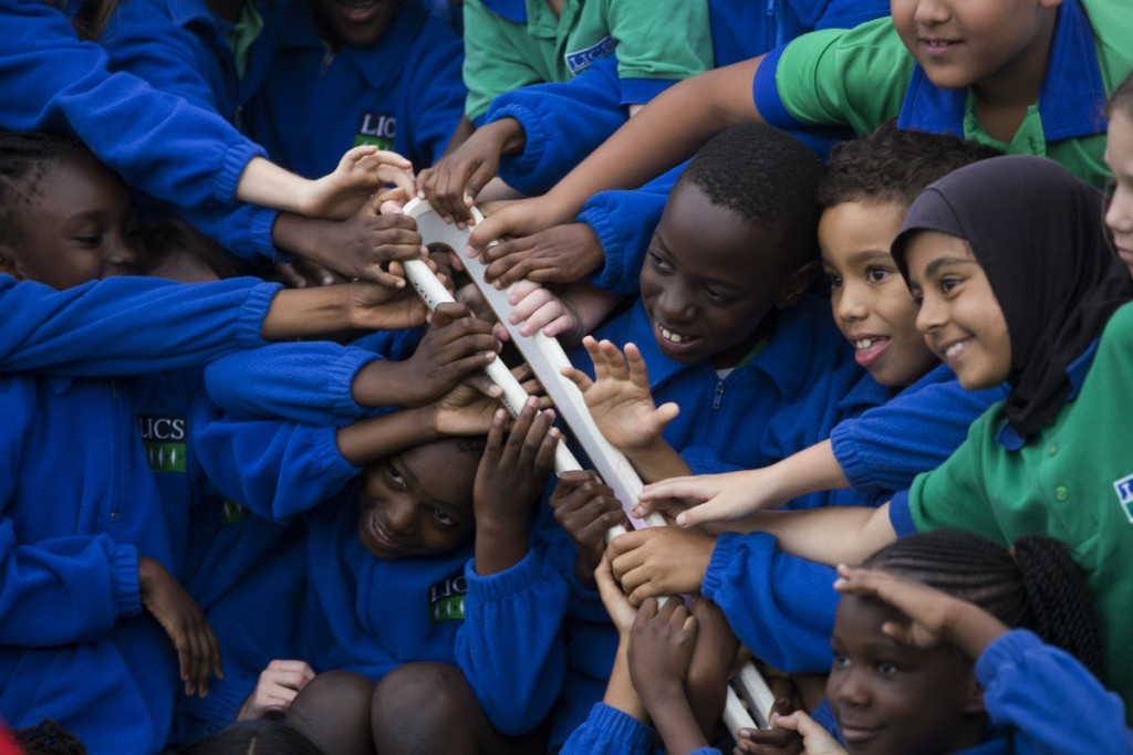 A school outreach programme was one of the highlights of the Baton's stay in Namibia ©Gold Coast 2018