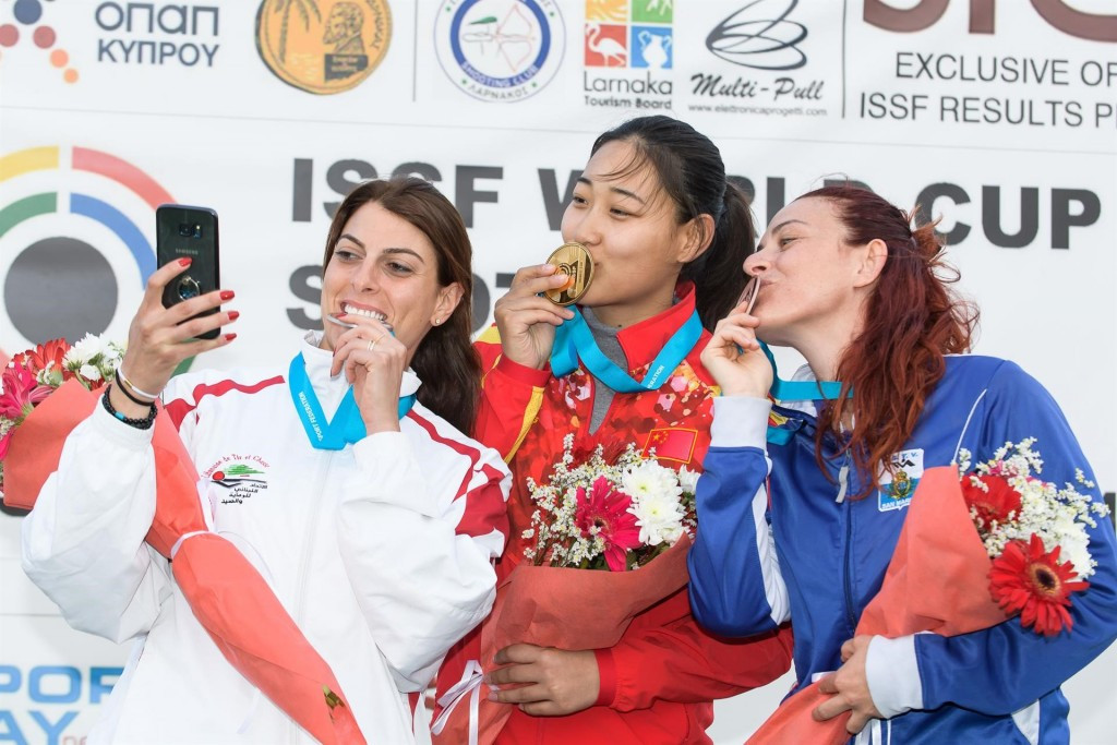 China's Wang Xiaojing set a world record of 45 hits out of 50 targets to win today's women's trap final at the ISSF Shotgun World Cup in Cypriot city Larnaca ©ISSF