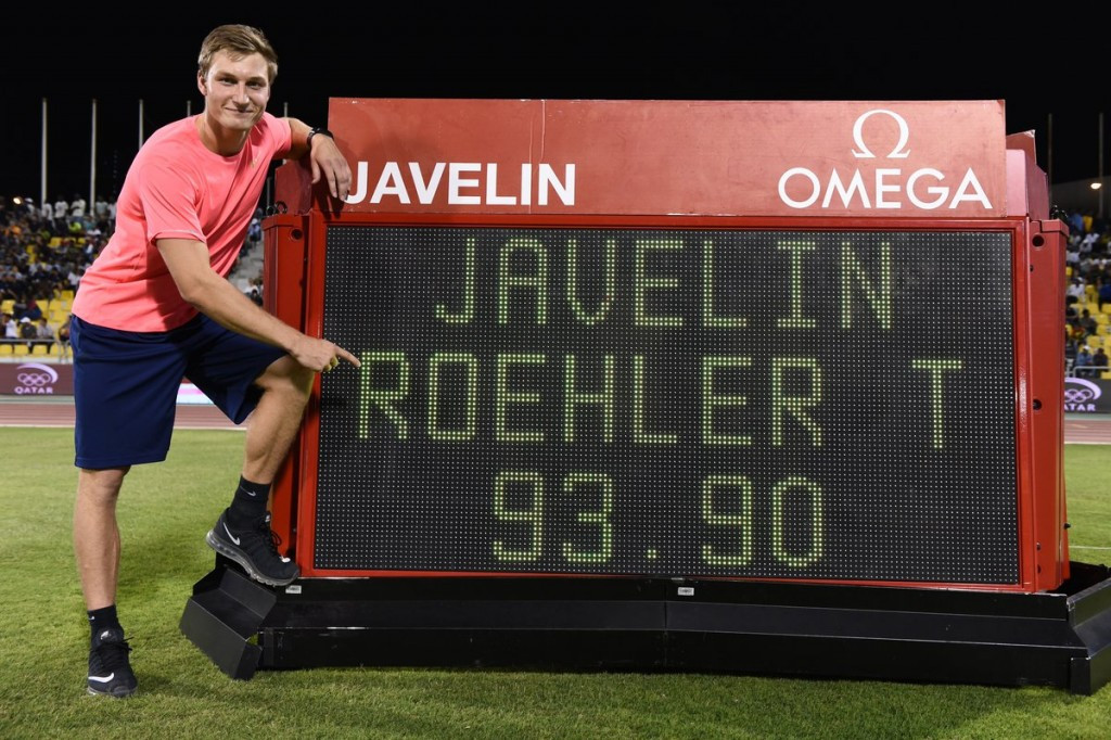 Rohler records best javelin throw for 20 years during Diamond League opener in Doha