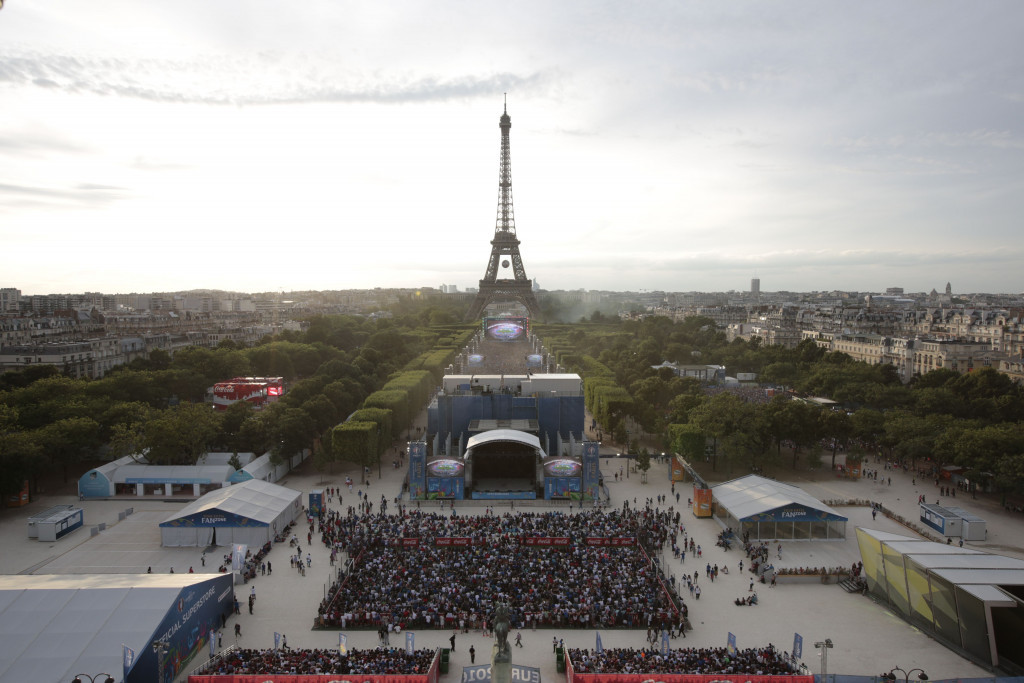 Spectators gather at the Champ-de-Mars to watch the final of Euro 2016 last year ©Getty Images