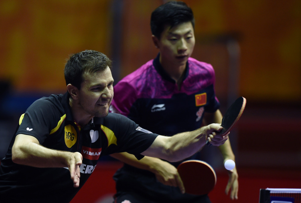 Germany's Timo Boll, left, and China's Ma Long are due to play men's doubles together at the World Championships in Düsseldorf later this month ©Getty Images