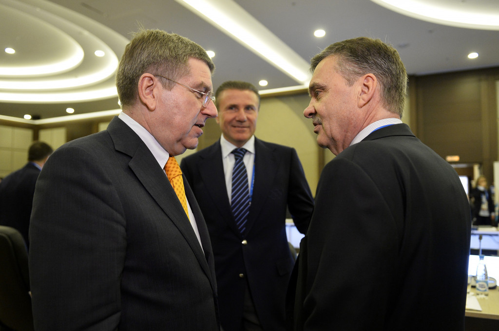 NHL President René Fasel, right, pictured speaking with IOC President Thomas Bach ©Getty Images