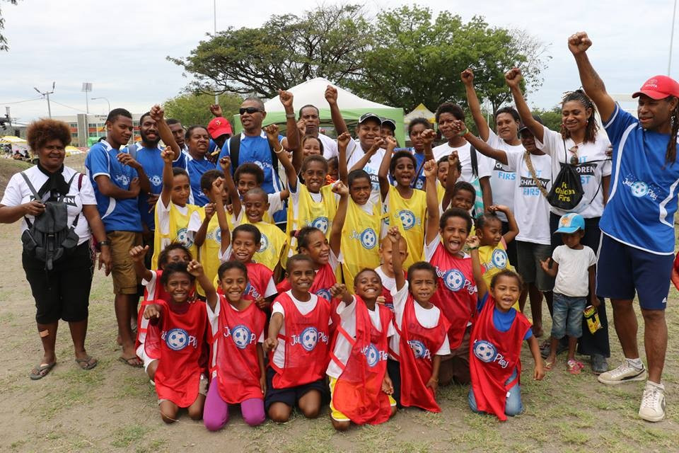 Children aged five to 15 were able to play football at the Pacific Games hub of venues as part of an Oceania Football Confederation initiative ©ONOC