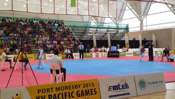 Women's taekwondo competition got under way with Australia claiming four gold medals at the Taurama Aquatic and Indoor Centre ©AOC