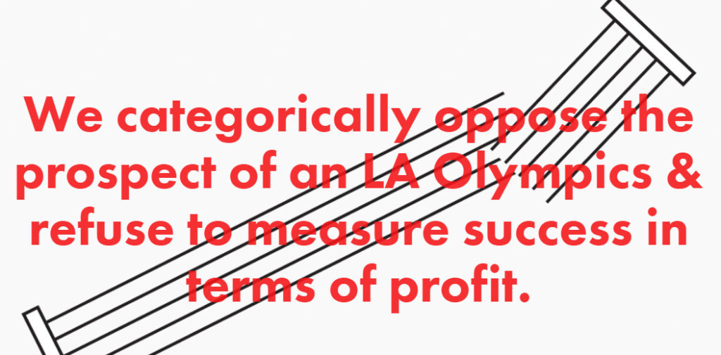 A message on the new NOlympicsLA website set-up to oppose Los Angeles 2024 ©NOlympicsLA