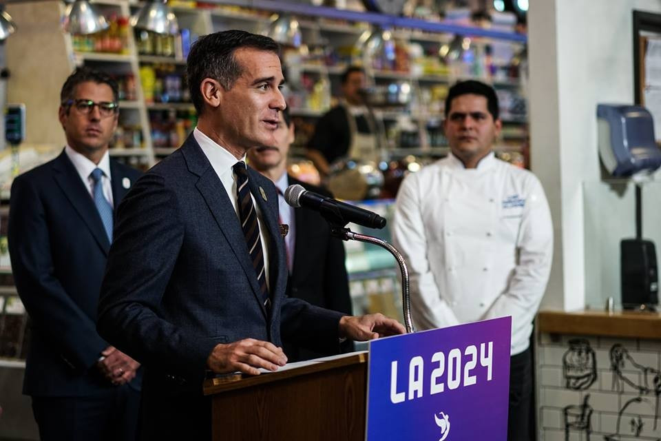 Eric Garcetti remains confident that Los Angeles can win its bid to host the 2024 Olympic and Paralympic Games ©Facebook/LA Mayor