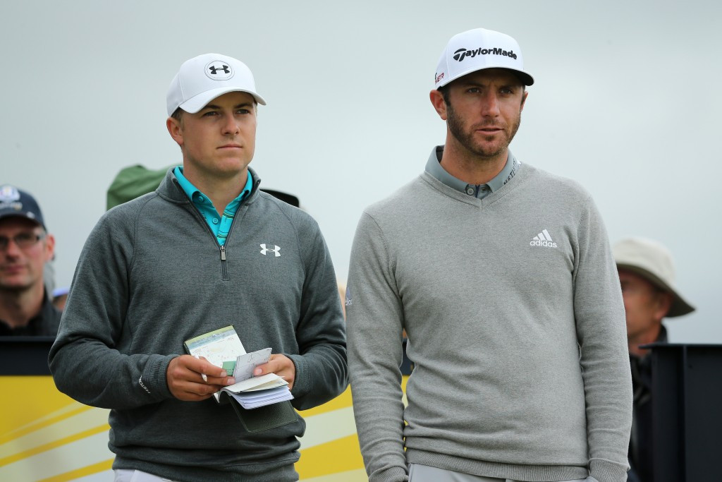 Jordan Spieth (left) is vying for his third consecutive major title but it's fellow American Dustin Johnson (right) who leads the field after the first round of the Open ©Getty Images