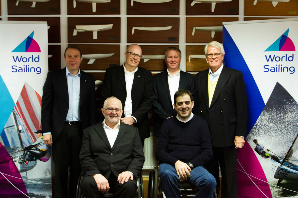 Sir Philip Craven, bottom left, met with senior World Sailing officials to discuss their Para World Sailing Strategic Plan in March ©World Sailing