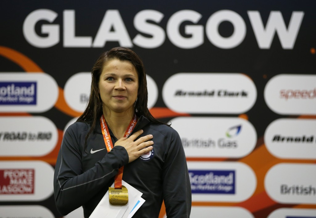 American Rebecca Myers broke another world record as she took gold in the women's S13 400m freestyle