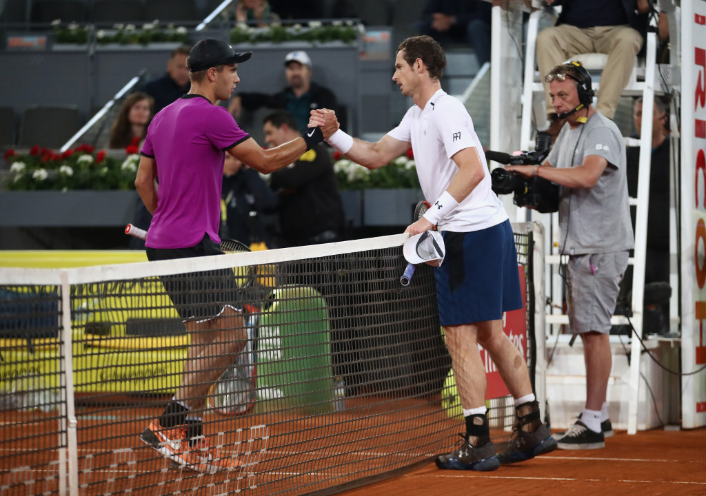 Coric stuns Murray to reach last 16 of Madrid Open