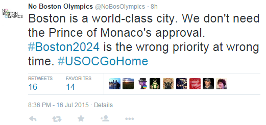 One of a series of strongly critical tweets published today by No Boston Olympics ©Twitter