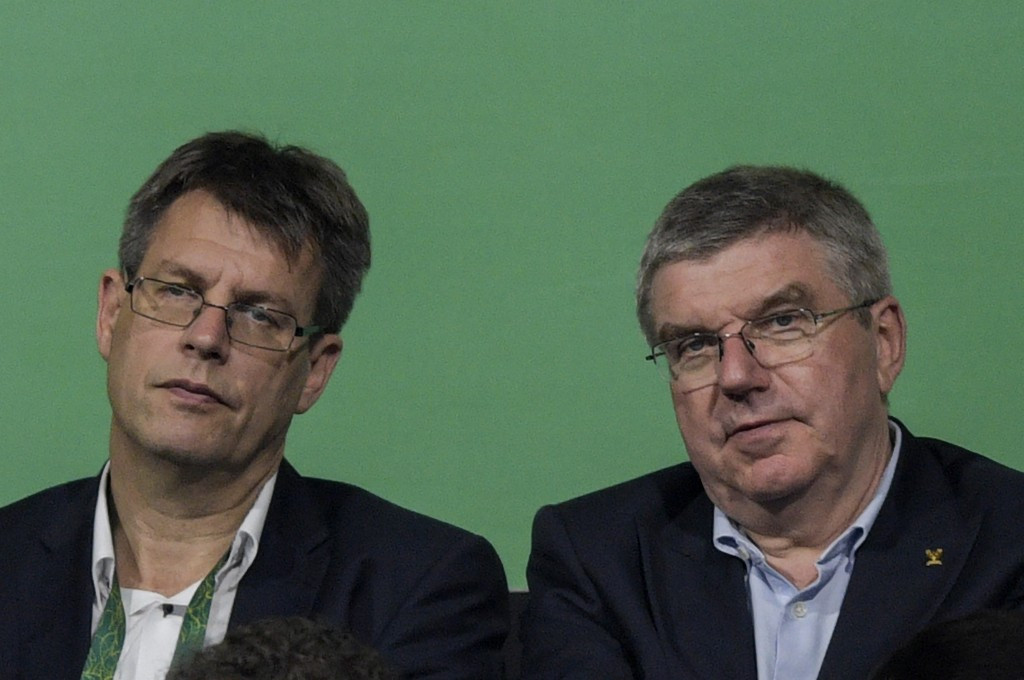 Belgium's Thomas Weikert, pictured left next to IOC President Thomas Bach, is seeking to secure the International Table Tennis Federation Presidency for a further four years ©Getty Images