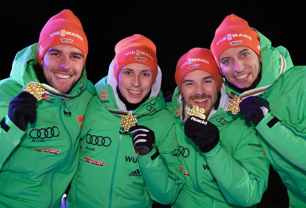 Johannes Rydzek, left, Eric Frenzel, inside left, Fabian Rießle, inside right, and Bjoern Kircheisen, right, all won World Championship gold last year ©Getty Images
