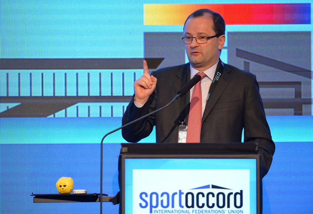 Patrick Baumann addressing the conference last month ©Getty Images