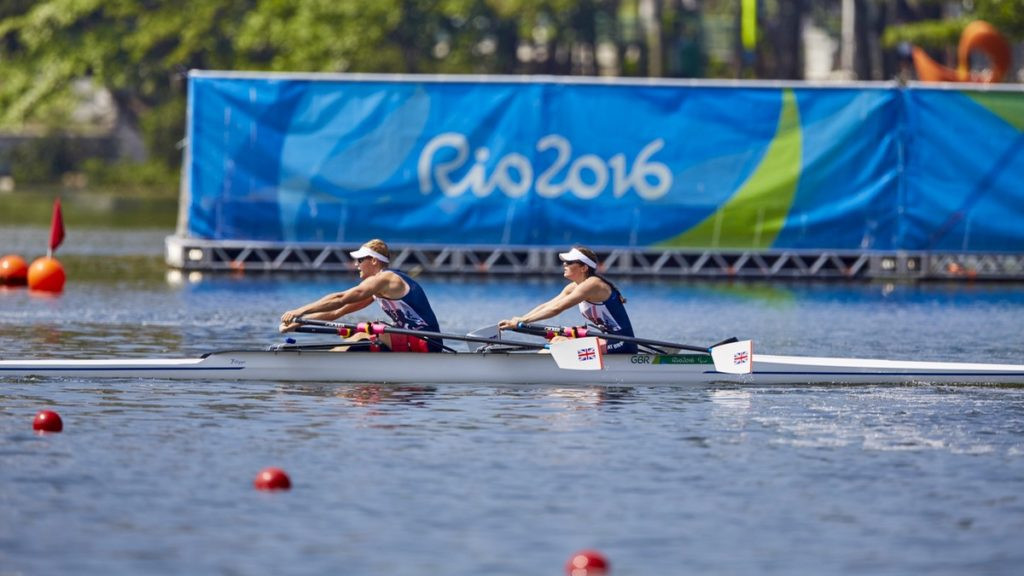 Rio 2016 champion Laurence Whiteley, left, will compete in the men's singles sculls in the absence of partner Lauren Rowles ©British Rowing