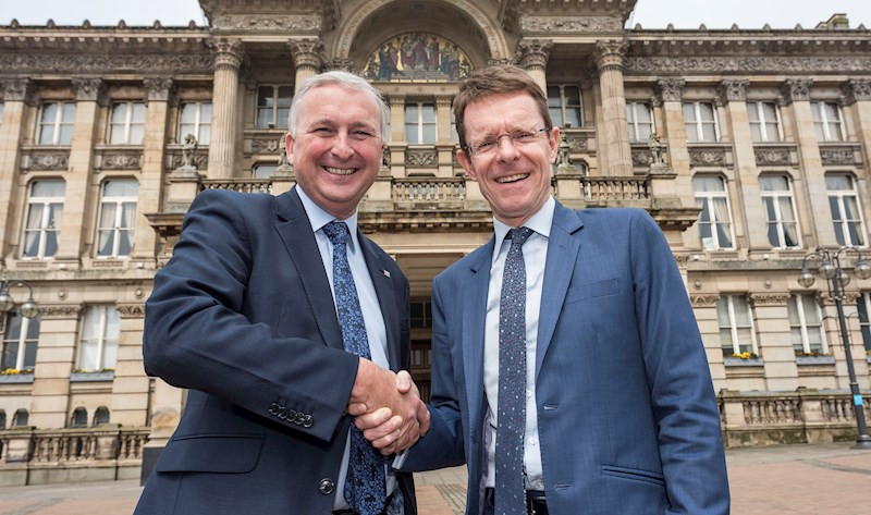Newly elected Mayor of the West Midlands Andy Street, right, has prioritised Birmingham's campaign for the 2022 Commonwealth Games and today met with Ian Ward, left, the bid leader ©WMCA