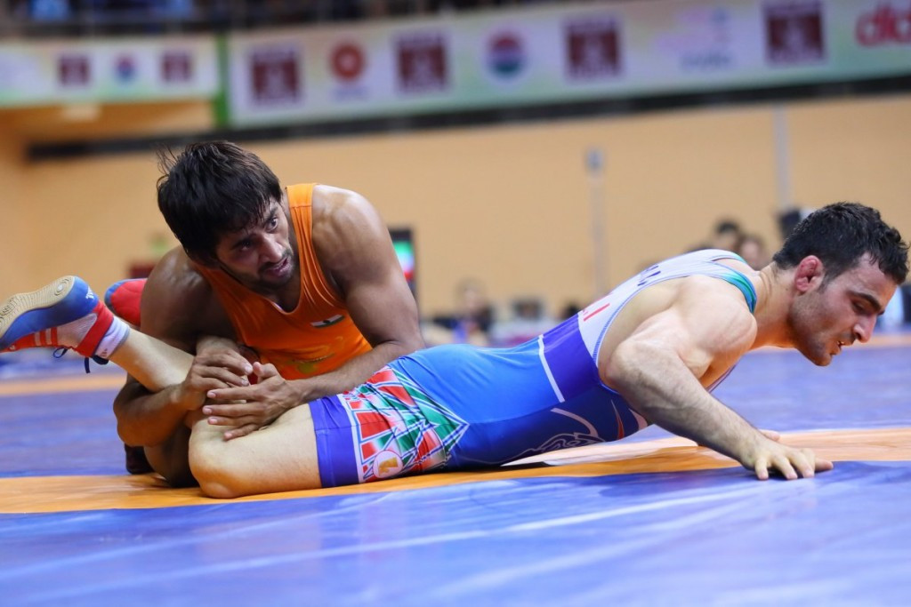 Bajrang Bajrang won gold in front of a home crowd ©UWW