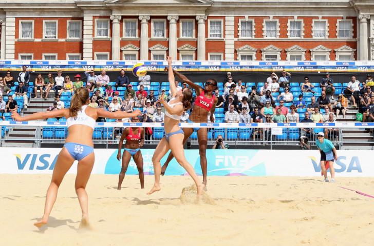 Vanuatu's Miller Elwin and Henriette Latika in action at the beach volleyball test event for the London 2012 Olympics - they narrowly missed qualification, but went on to excel in the following year's World Championships ©Getty Images