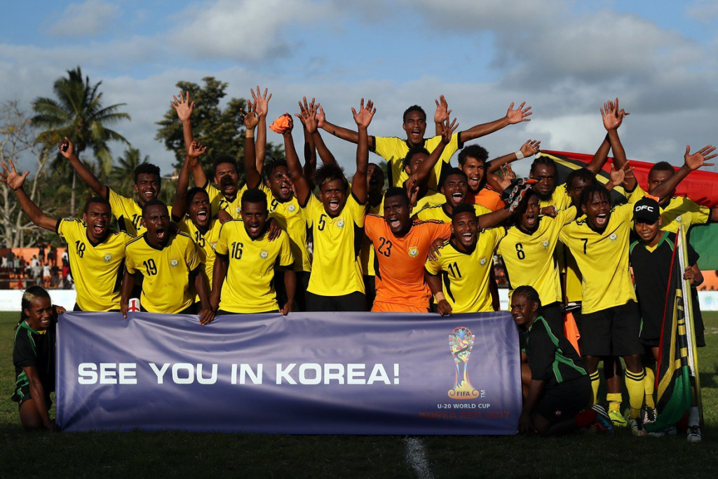 Vanuatu's players celebrate the prospect of making their debut at the FIFA Under-20 World Cup ©OFC/Twitter