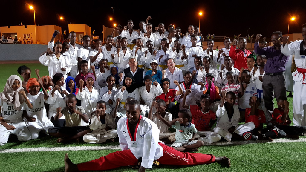WTF President Chungwon Choue was welcomed by Djibouti's taekwondo practitioners ©WTF