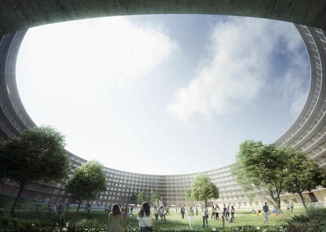 The ring shaped building has been described as an architectural challenge ©Lausanne 2020