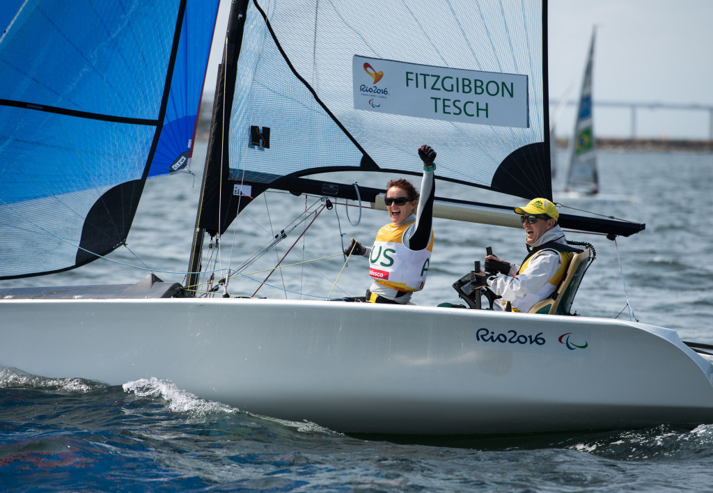 Liesl Tesch partnered Daniel Fitzgibbon to mixed two-person sailing SKUD18 gold at the Rio 2016 Paralympic Games ©Getty Images