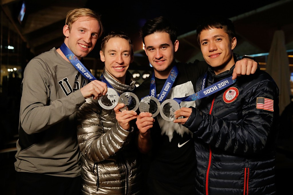 Chris Creveling, first left, won Olympic silver in the 5,000m relay event at Sochi 2014 ©Getty Images