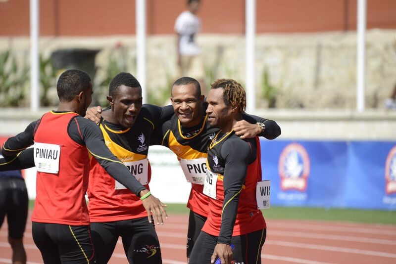 Papua New Guinea's men's 4x100m relay delighted the home crowd by beating Fiji to gold