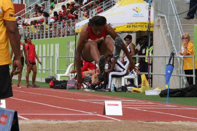 Rellie Kaputin led a podium sweep for Papua New Guinea in the women's long jump ©Port Moresby 2015