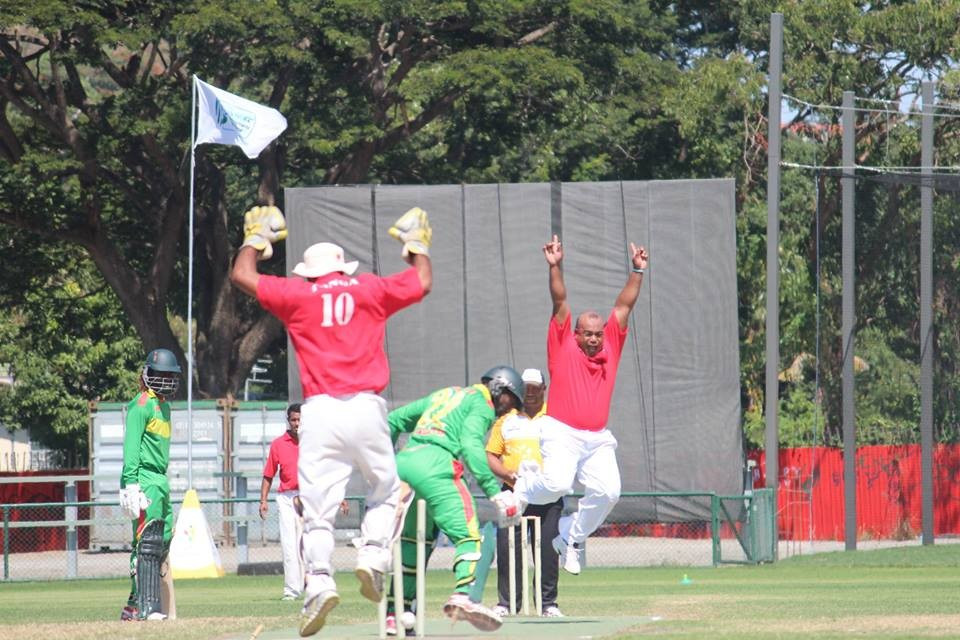 Tonga celebrate a wicket in their clash with Vanuatu but it proved to be in vein as they succumbed to a narrow defeat ©Cricket PNG/Facebook