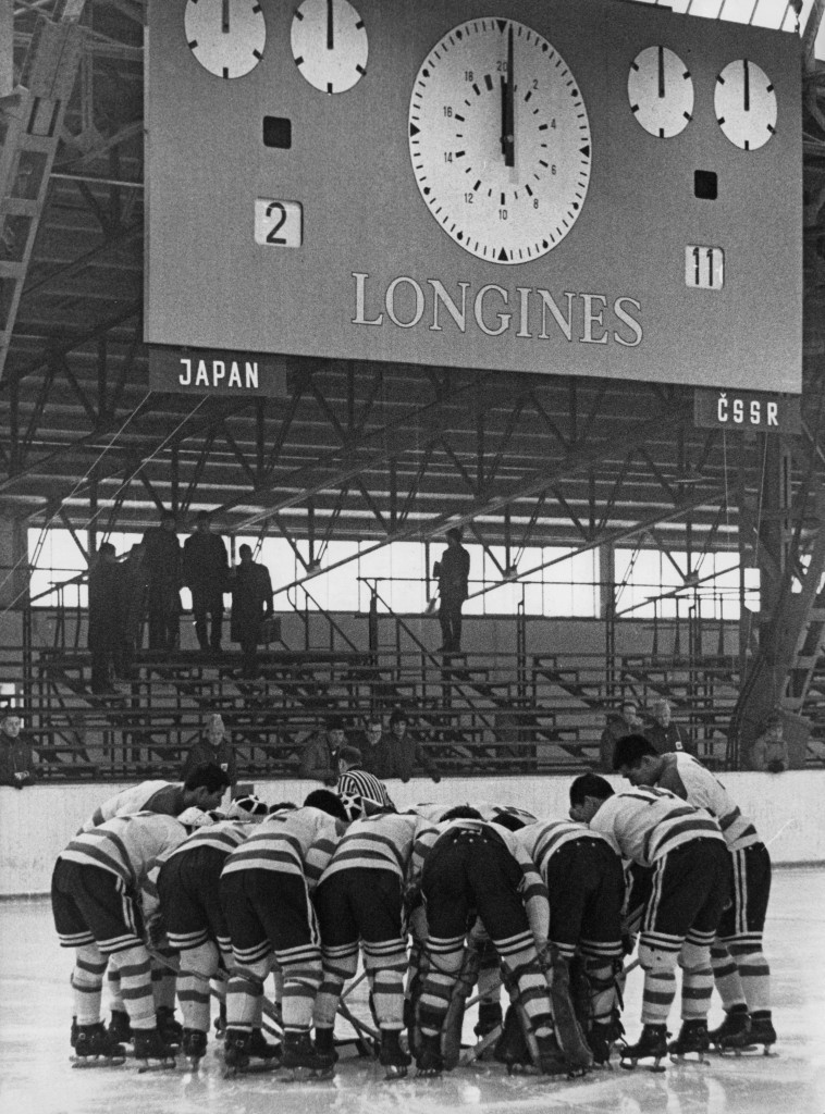 A Longines clock at the Innsbruck Winter Olympic Games in 1964 ©Getty Images