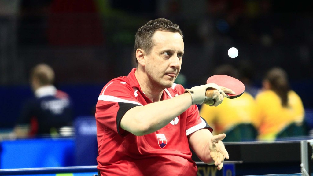Slovakia's Jan Riapos, pictured, and Martin Ludrvovsky were victorious today ©ITTF