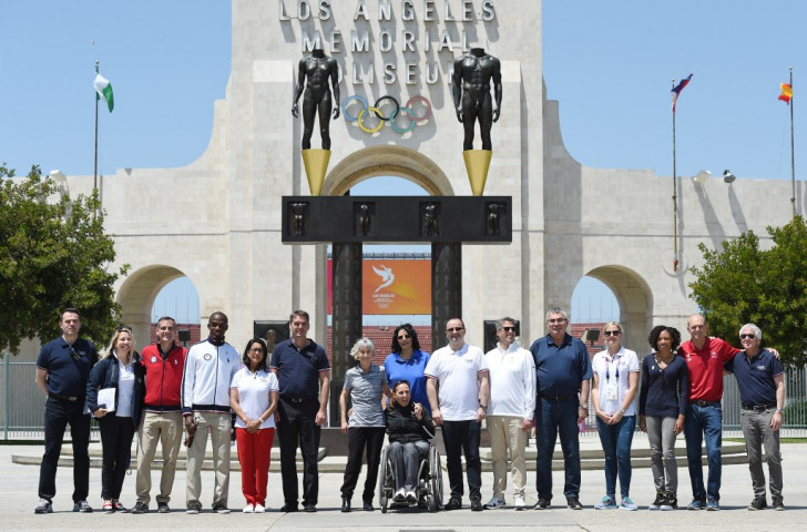Members of the IOC Evaluation Commission and the Los Angeles 2024 committee gather outside the Memorial Coliseum stadium after a venue tour earlier this month ©Getty Images