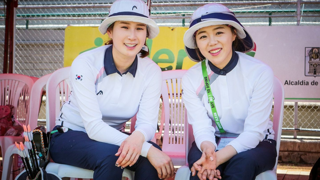 Chang Hye Jin, right, and Ki Bo Bae each claimed Archery World Cup titles ©World Archery