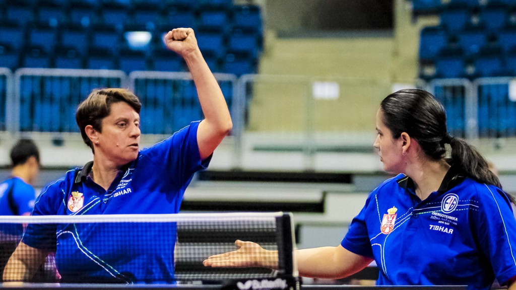 Serbia's Borislava Peric-Rankovic, left, and Nada Matic, right, retained their women's class four to five title on day three of the ITTF Para Team World Championships in Slovakia's capital Bratislava ©Richard Kalocsai/ITTF