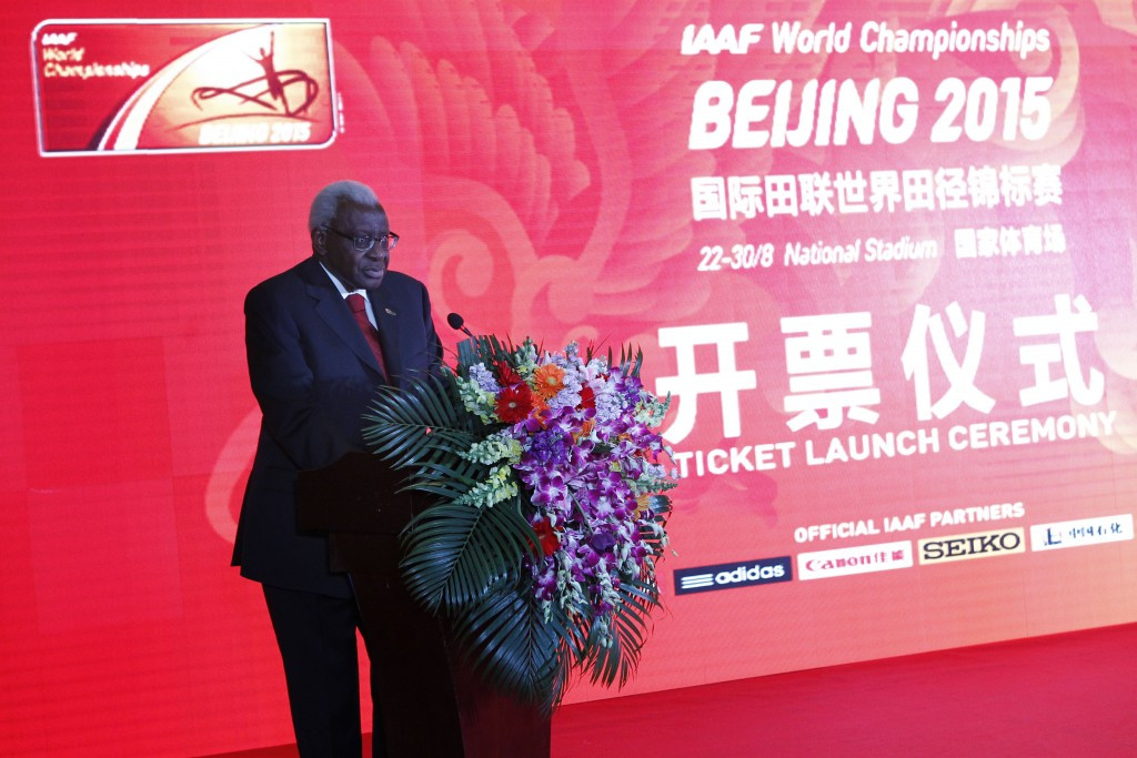 Lamine Diack, the IAAF President attending the ticket launch of the World Championships in Beijing, has warned Chinese organisers they need to do more to make sure the Bird's Nest Stadium is full
