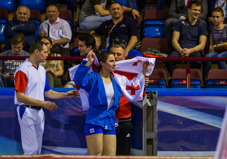 Georgia's Nino Odzelashvili was one of two female athletes to beat Russian opposition to a gold medal on the opening day of the 2017 European Sambo Championships at the Minsk Sports Palace ©FIAS