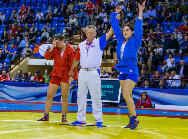 Georgia's Nino Odzelashvili was one of two female athletes to beat Russian opposition to a gold medal on the opening day of the 2017 European Sambo Championships ©FIAS