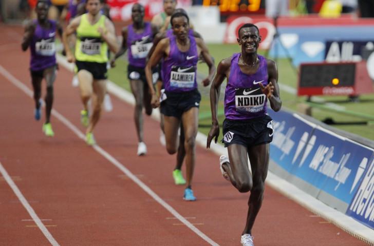Kenya's Caleb Ndiku wins he men's 3000m at Monaco's IAAF Diamond League meeting in 7min 35.13sec, the fastest run this season ©Getty Images