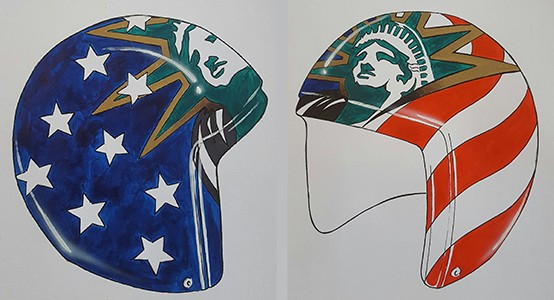The helmets have been designed by Jon Wooten ©USA Luge